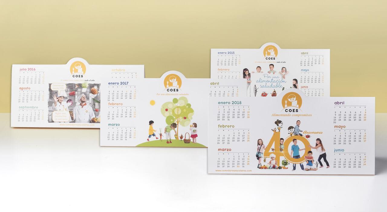 diseño calendario mesa pared bolsillo sobremesa